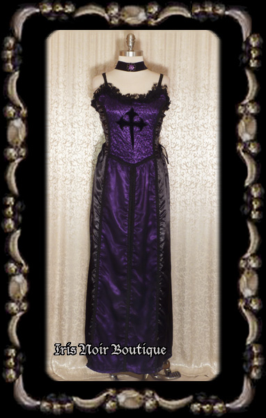 Raven Black & Purple Satin Lace-Up Sides Gothic Cross Gown M/L