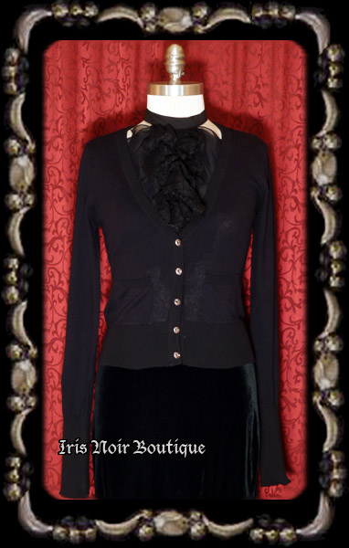 'Goth Basic' Crystal Button Cotton Cardigan Sweater