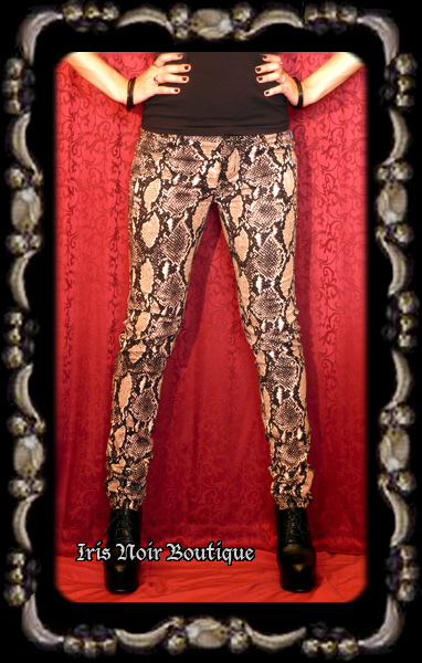 Tripp NYC Snake Skin Narrow Leg Punk Goth Pants