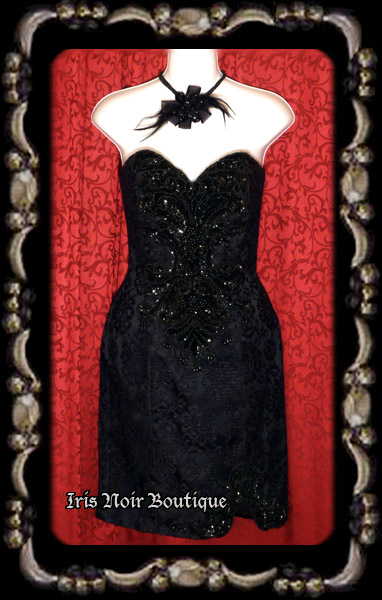 {Vintage} Black Lace Beaded Applique 'Gothic Dame' Dress XS-S