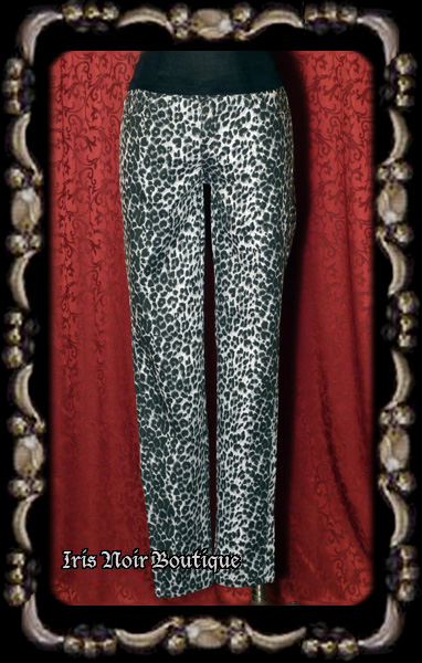 'Betty on the Prowl' Snow Leopard Tapered Leg Pin Up Pants